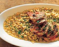 Roast lamb with flageolet beans