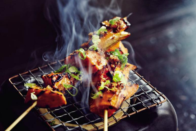 Grilled Sweet Potatoes With Soy Sauce, Maple, and Bacon