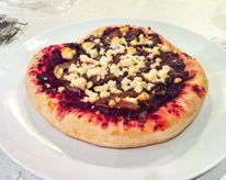 Beet Pizza with Caramelized Onions and Goat Cheese
