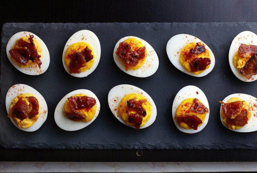 Sriracha Deviled Eggs With Cand Bacon Mccormick
