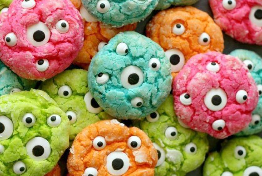 these super scary cookies come courtesy of lil luna blog and use candy eyeballs to decorate funky colored soft and buttery cake cookies