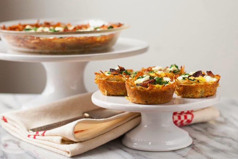 Kale and Bacon Quiches With Hash Brown Crust