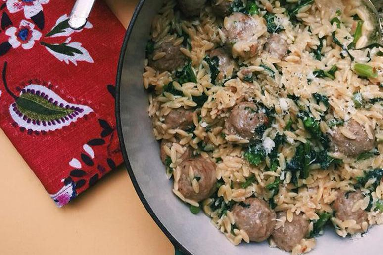 One-Pot Meatball Orzo and Broccoli Rabe Casserole