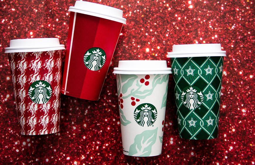 Starbucks Christmas Cups.Starbucks Decks The Halls With 4 New Retro Holiday Cups