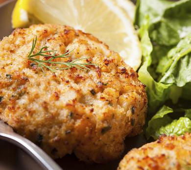 Basic Crab Cakes with Steamed Asparagus