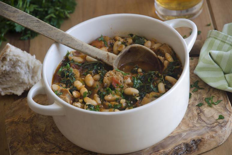Simmered Kale with Bacon and White Beans Recipe