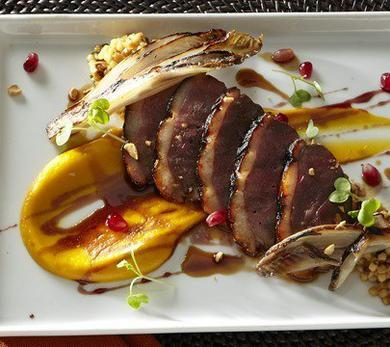 Roasted Duck Breast with Hazelnut and Fregola Risotto