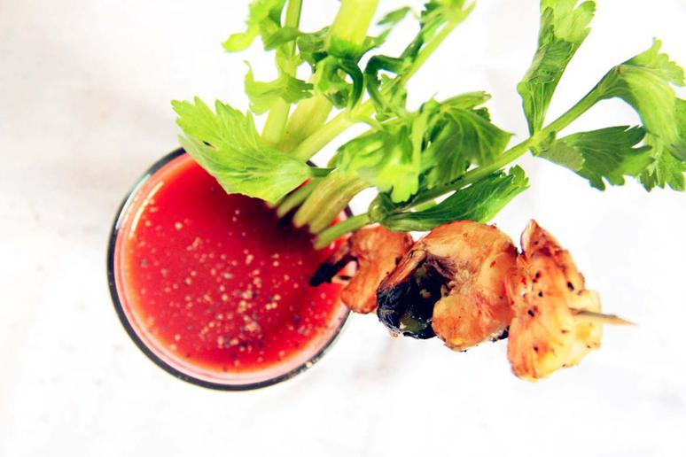 Oregano-Infused Bloody Mary and Lemon Pepper Grilled Shrimp
