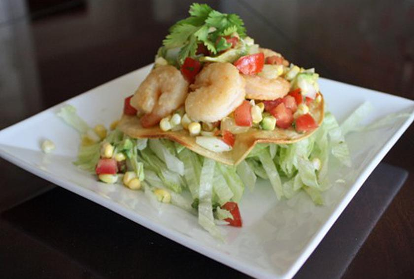 Shrimp Tostadas with Corn Salsa