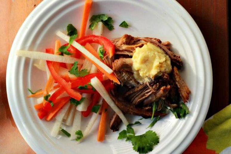 Slow Cooker Cuban Pulled Pork with Chipotle Mayo and Jicama Slaw