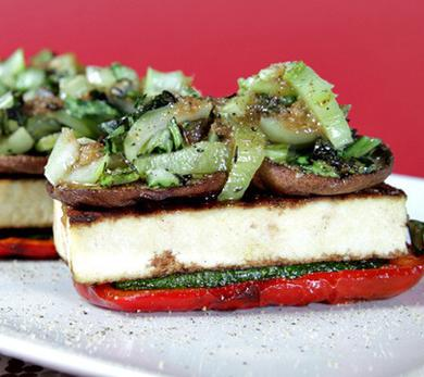 Grilled Vegetable Napoleons with Spicy Scallion Vinaigrette