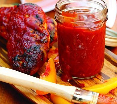 Grilled Chicken with Peach Barbecue Sauce