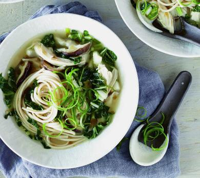 Chicken Miso Soup with Oyster Mushrooms and Greens