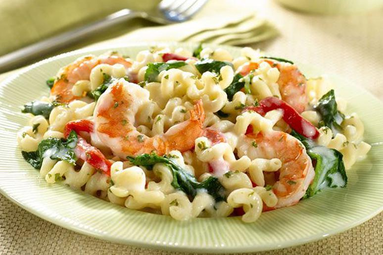Four-Cheese Pasta With Shrimp and Spinach