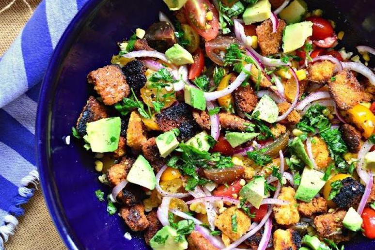 Grilled Cornbread Panzanella With Avocado