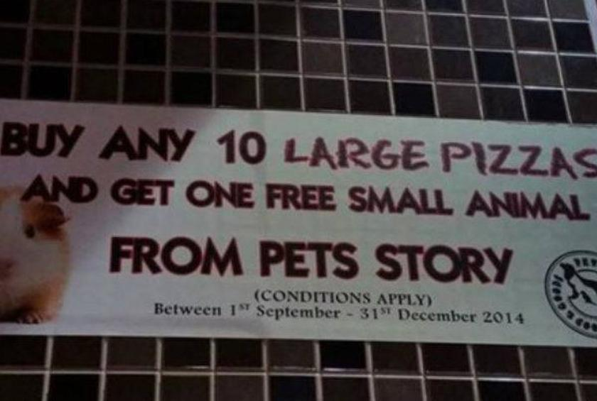 "Australian Pizza Hut Advertised ""Free Small Animal"" with Pizza Purchase"