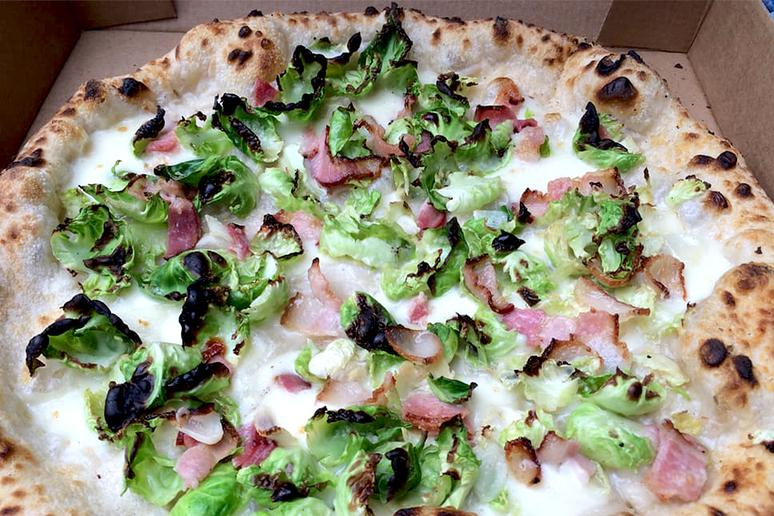 #11 Motorino, New York, N.Y. (Brussels Sprout: Fior di latte, garlic, Pecorino, smoked pancetta, olive oil)