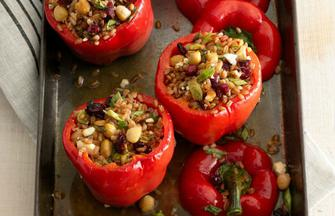 Farro and Feta-Stuffed Peppers
