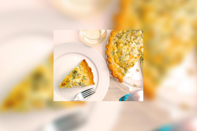 Kale and Three Cheese Quiche