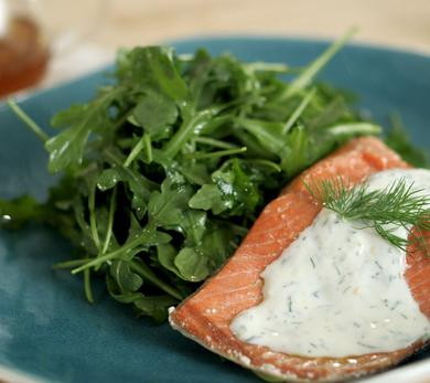 Chilled Poached Salmon Salad with Honey-Yogurt Dressing