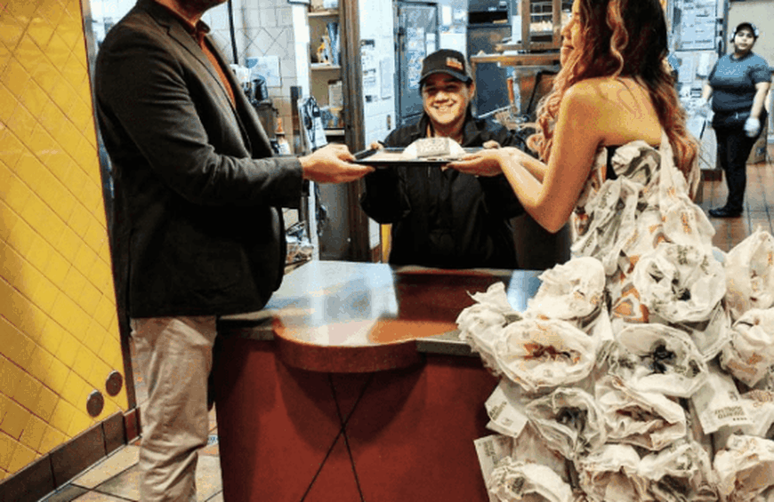 Taco Bell Wedding.One Enterprising And Hungry Bride Created A Gown Out Of Taco Bell