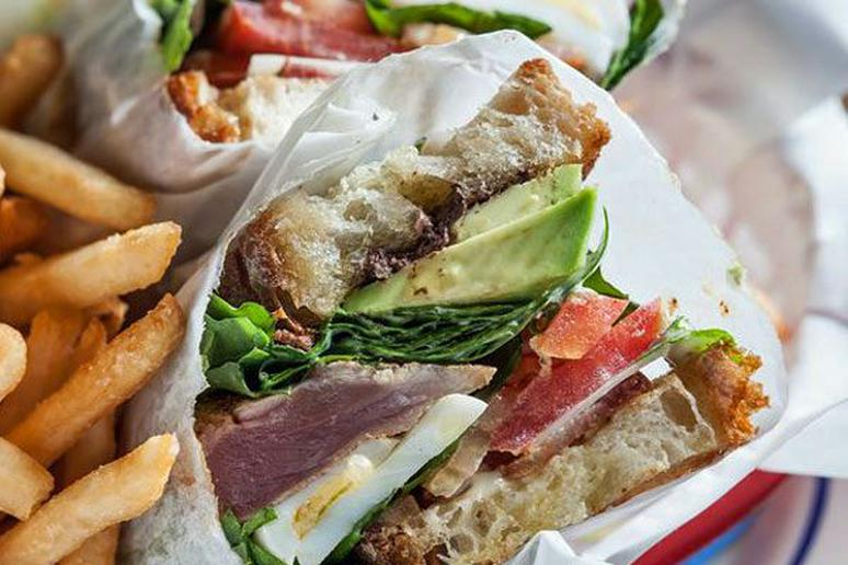 Tuna BLT with Olive Tapenade and Oregano Dressing