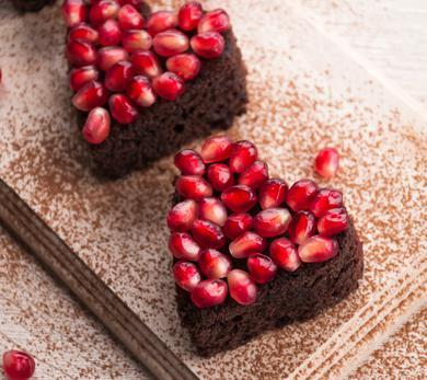 Valentine's Day Vegan Brownies With Pomegranate Sauce