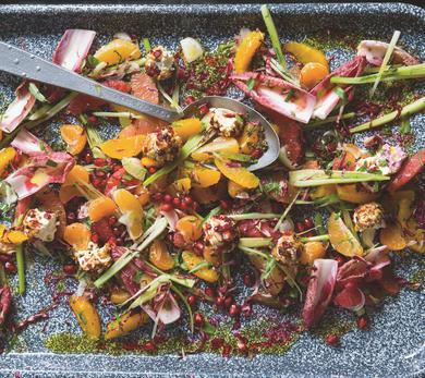 Citrus Salad with Red Radicchio and Pomegranate Dressing