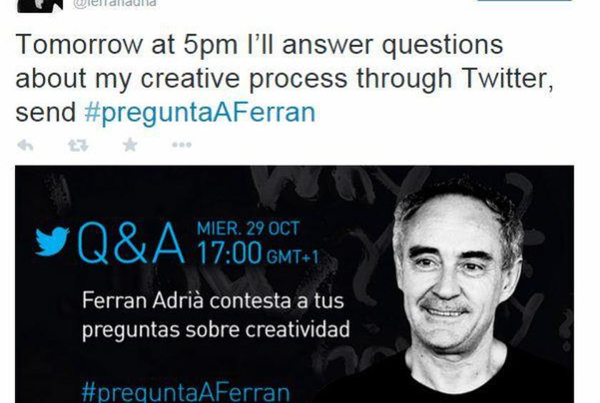 Ferran Adrià to Host Twitter Q&A about Creativity on October 29