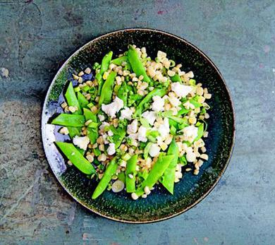 Farro, Corn, and Runner Bean Salad with Goat Cheese