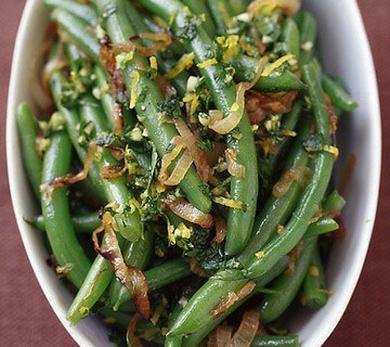 Green Beans with Caramelized Shallots and Gremolata