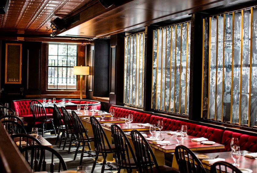 Comfortable Banquettes line the walls of Harry's at 1 Hanover Square