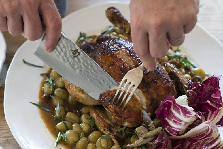 Roast Chicken With Verjuice, White Grapes and Tarragon