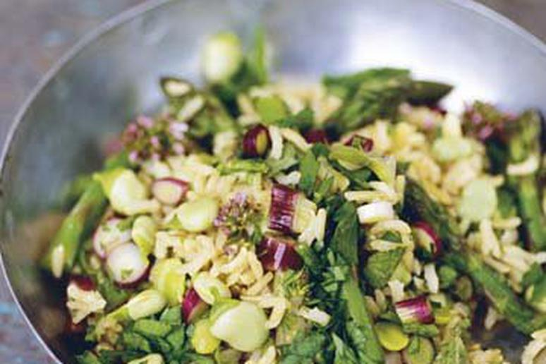 Pilaf of Asparagus, Fava Beans, and Mint
