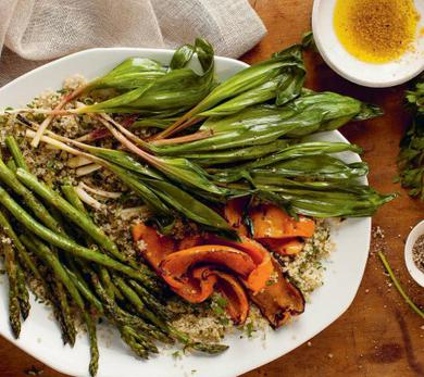 Grilled Ramps and Spring Vegetables Over Lemon Parsley Quinoa