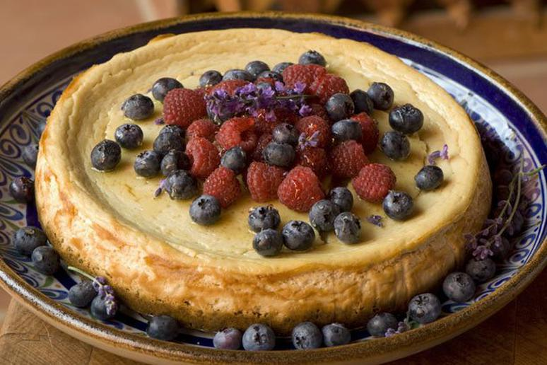 Ricotta Cheesecake with Berries and Lavender