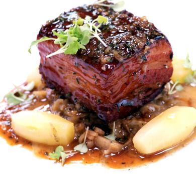 Pork Belly with Apples and Cabbage