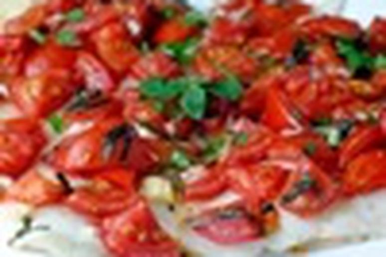 Healthy baked sole with tomatoes and basil