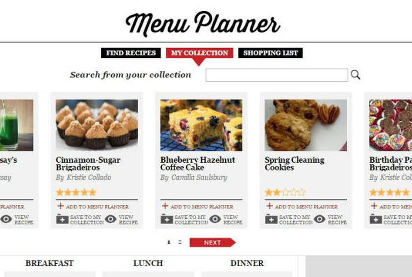 the daily meal s menu planner and shopping list are up and running