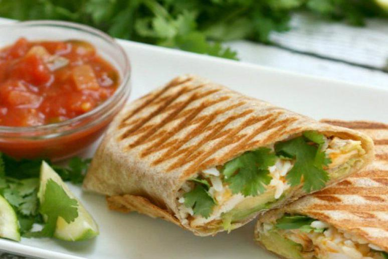 Grilled Chicken, Avocado, Rice, and Cheddar Burrito