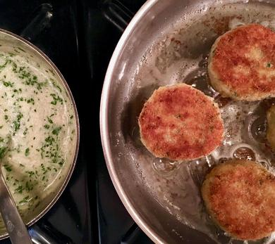 Fishcakes with Capers and Horseradish-Parsley Sauce