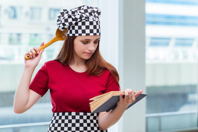 Chef trying to read recipe