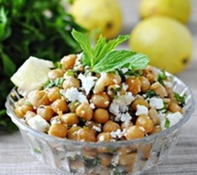 Garlicky Roasted Chickpeas with Feta and Mint