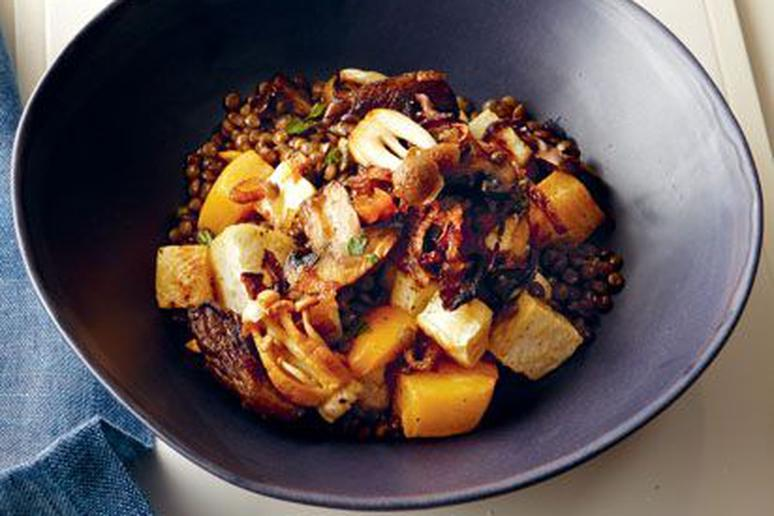 Lentils with root vegetables and caramelized onions