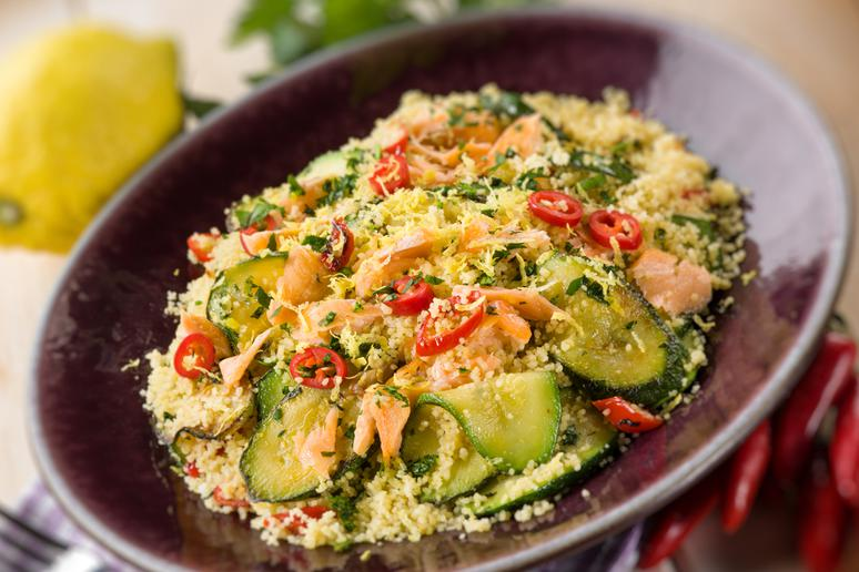 Israeli Couscous Salad With Smoked Salmon and Creamy Pesto