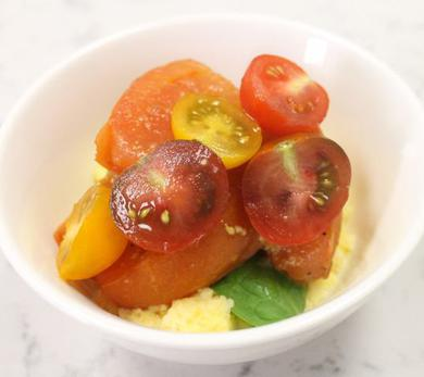 Stewed Tomatoes with Polenta
