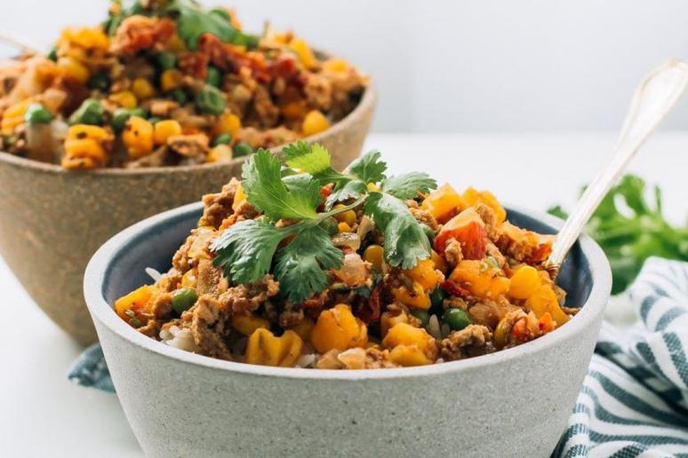 Ground Turkey With Butternut Squash, Corn, Peas and Southwest Spice Blend