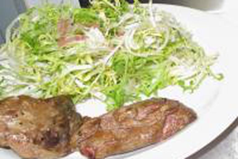 Anita Lo's Frisee and Duck Liver Salad