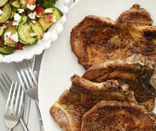 Greek Pork Chops with Zucchini and Feta