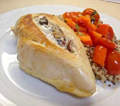 Goat Cheese and Olive Stuffed Chicken Breast